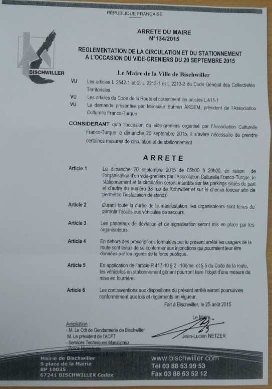 ARRETE DU MAIRE N°134/2015