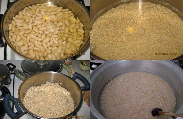 En haut, trempage des haricots secs et du blé, en bas, pré-cuisson du blé et cuisson finale